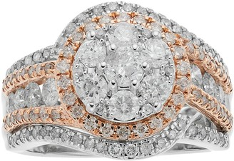 10k White Gold Two Tone 2 Carat T.W. Diamond Cluster Ring