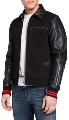 Diesel Men's Yuki Leather Combo Jacket
