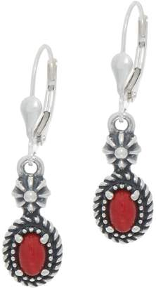 American West Sterling Silver Oval Gemstone Lever Back Earrings