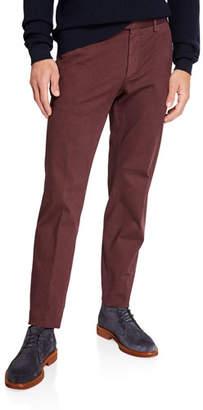 Ermenegildo Zegna Men's Garment-Dyed Tab Twill Pants, Dark Red