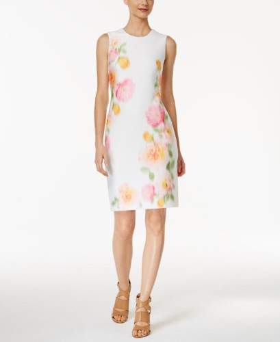 Womens Printed A-Line Wear to Work Dress