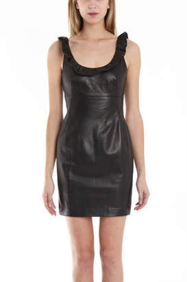 L'agence Ruffle Neck Leather Dress