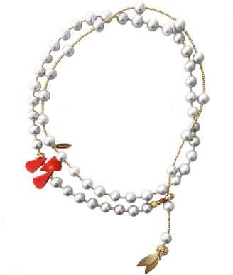 Farra - Grey Freshwater Pearls With Floral Corals Multi-Way Necklace