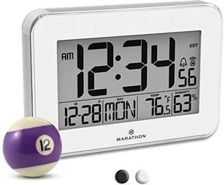 Marathon CL030060WH Designer Atomic Wall Clock with Polished Acrylic Bezel. Displays Calendar