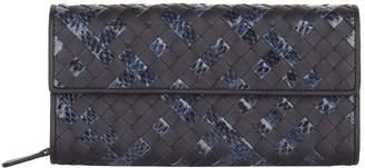 Bottega Veneta Leather and Ayers Intrecciato Continental Wallet