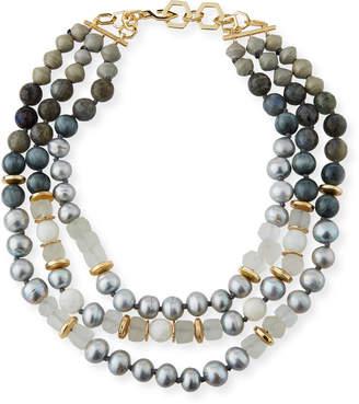 Neiman Marcus Akola Three-Strand Pearly Beaded Necklace