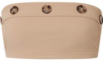 Karla Colletto Lauren Button-embellished Bandeau Bikini Top - Sand