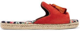 Christian Louboutin Pacha Tasseled Velvet Espadrille Slides - Orange
