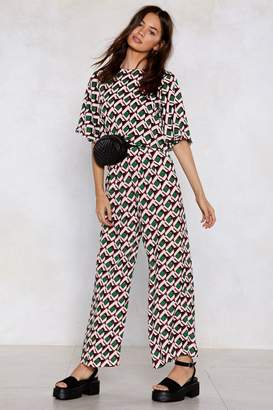 Nasty Gal Get Your Act Together Printed Crop Top and Pants Set