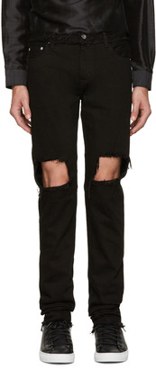 Christian Dada Black Distressed Skinny Jeans $450 thestylecure.com