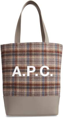 A.P.C. Cabas Axel Plaid Felt & Leather Tote