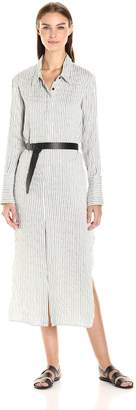 Halston Women's Long Sleeve Pinstripe Maxi Shirt Dress