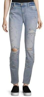 Driftwood Beau Boyfriend Embellished and Distressed Jeans