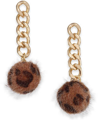 INC International Concepts I.n.c. Gold-Tone Chain & Faux Fur Ball Drop Earrings, Created for Macy's