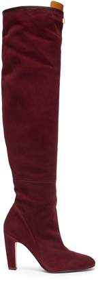 Stuart Weitzman 'Edie' leather panel stretch suede knee high boots