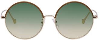Loewe Brown and Gold Round Sunglasses