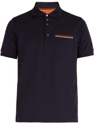 Paul Smith - Artist Stripe Trimmed Cotton Polo Shirt - Mens - Navy