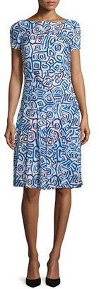 Oscar de la Renta Abstract Watercolor-Shaped Print Dress, Marine Blue $2,190 thestylecure.com
