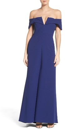 Women's Bcbgmaxazria Tbd Off The Shoulder Gown $368 thestylecure.com
