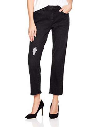PD Peppered Denim Women's Mid-Rise Slim-Straight Fit Ankle Cut-Off Jeans
