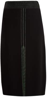 Burberry Contrast-stitch stretch-crepe midi skirt