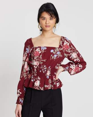 Miss Selfridge Shirred Frilled Square Neck Blouse