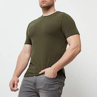River Island Big and Tall dark green muscle fit T-shirt