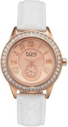 Burgi Women's Crystal Leather Watch