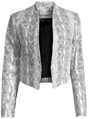 Alice + Olivia Women's Harvey Mesh Leather Jacket - Black White - Size XS