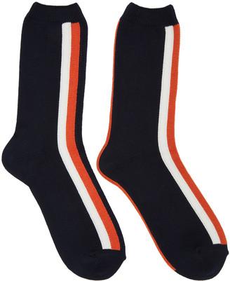 Sacai Navy Striped Socks $45 thestylecure.com