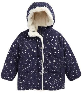 Joules Faux Fur Trim Hooded Puffer Jacket (Toddler Girls & Little Girls)