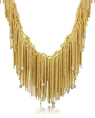 Orlando Orlandini Flirt - Diamond Drops 18K Yellow Gold Thread Necklace
