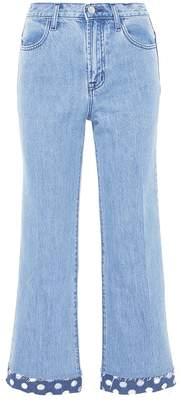 J Brand 'Joan' polka dot cutout cuff wide leg jeans