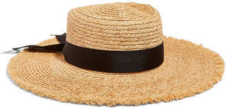 LACK OF COLOR The Ventura Frayed Grosgrain Trimmed Straw Hat - Black