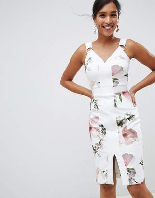 Ted Baker strappy bodycon dress in harmony floral print