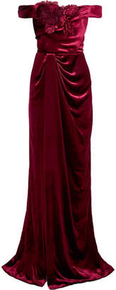 Marchesa Off-the-shoulder Appliquéd Velvet Gown - Burgundy