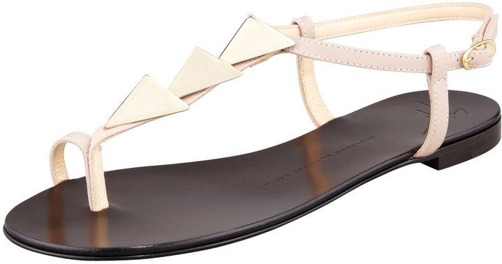 Giuseppe Zanotti Triangle-Stud Flat Thong Sandal, Nude