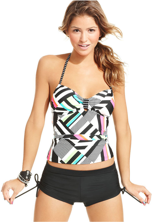 Hula Honey Swimsuit, Bandeau Geo-Print Tankini Top