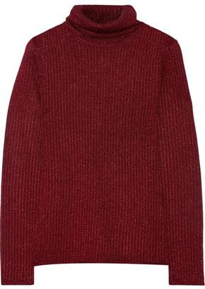 Alice + Olivia - Billi Metallic Stretch-knit Turtleneck Sweater - Burgundy $375 thestylecure.com