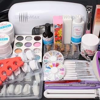 ReNext 25 in 1 Combo Set Professional DIY UV Gel Nail Art Kit 9W Lamp Dryer Brush Buffer Tool Nail Tips Glue Acrylic Set