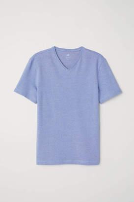 H&M V-neck T-shirt Slim fit - White - Men