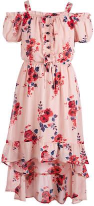 Sequin Hearts Big Girls Plus Floral-Print Cold-Shoulder Maxi Dress