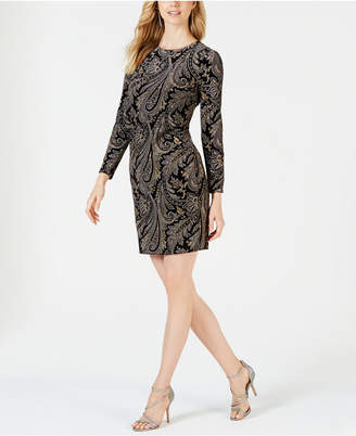 MSK Petite Metallic Paisley Velvet Dress