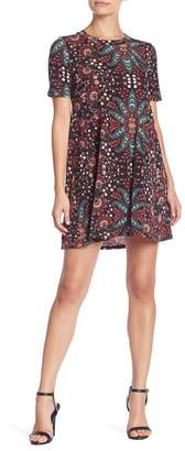 BCBGeneration A-Line Yoke Floral Print Dress