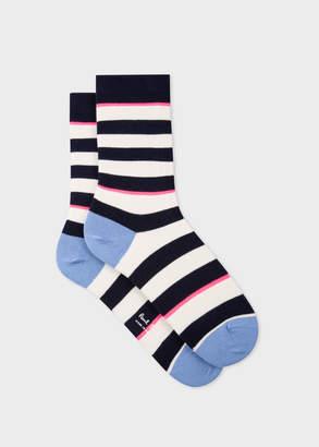 Paul Smith Women's Navy And Ecru Stripe Socks