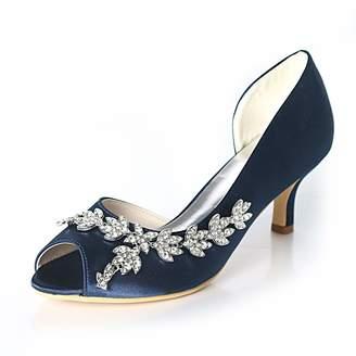 0b48dfeb3f3 LLBubble Women Kitten Heels Peep Toe Wedding Shoes Satin Bridal Pumps  Formal Party Dress Shoes-