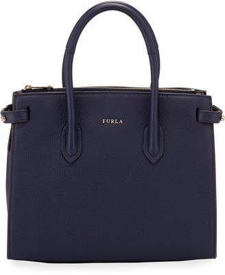 Furla Pin Small Leather Satchel Bag, Navy