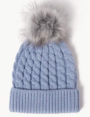 M&S Collection Faux Fur Bobble Beanie Hat