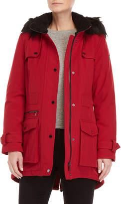 DKNY Faux Fur-Trimmed Softshell Coat