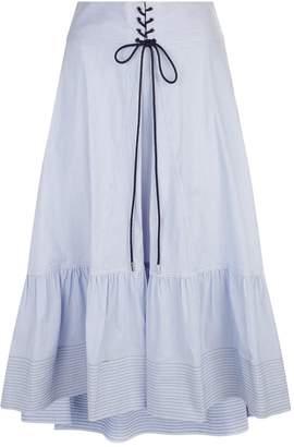 3.1 Phillip Lim Lace Front Pinstripe Midi Skirt